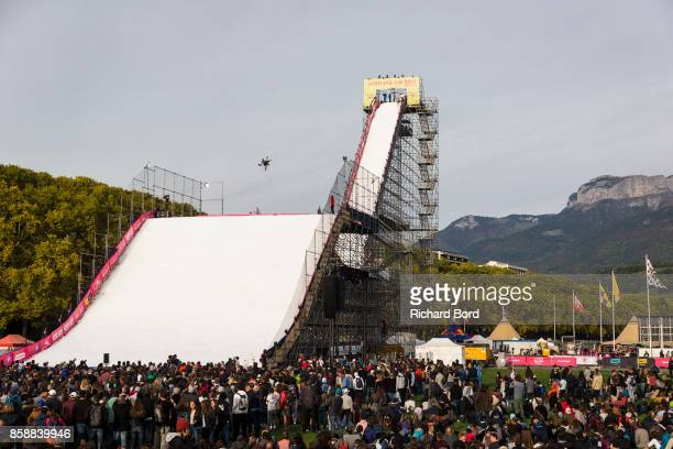 Jennie Lee Burnmansson of Sweden performs during the Sosh Big Air finals on October 7 2017 in Annecy France
