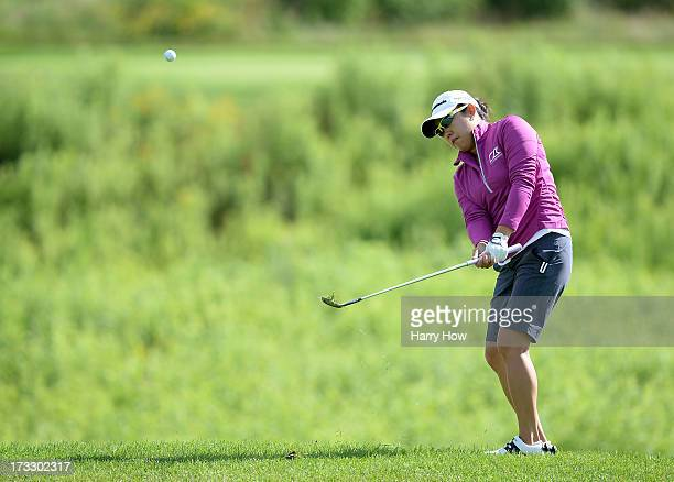 Jennie Lee chpis to the ninth green during round one of the Manulife Financial LPGA Classic at the Grey Silo Golf Course on July 11 2013 in Waterloo...