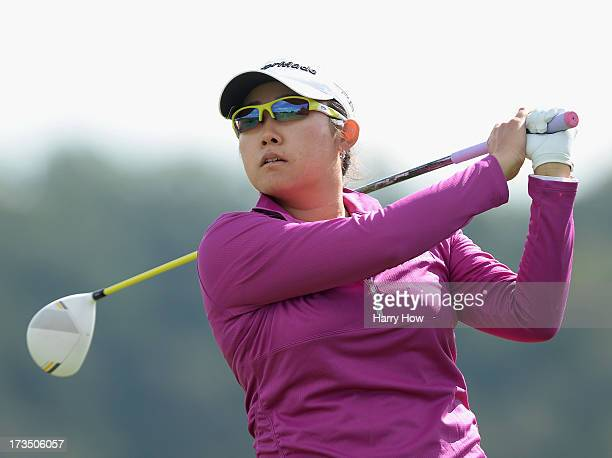 Jennie Lee his a tee shot on the 10th hole during round one of the Manulife Financial LPGA Classic at the Grey Silo Golf Course on July 11 2013 in...