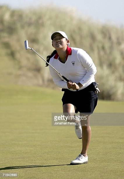 Jennie Lee of the United States reacts to just missing her clinching putt on the 16th hole en route to winning her match 3 and 2 over Melissa Reid of...