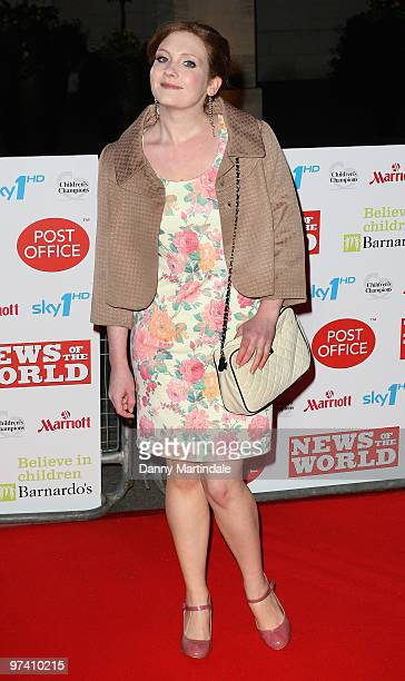 Jennie McAlpine attends the Children's Champions 2010 awards at The Grosvenor House Hotel on March 3 2010 in London England