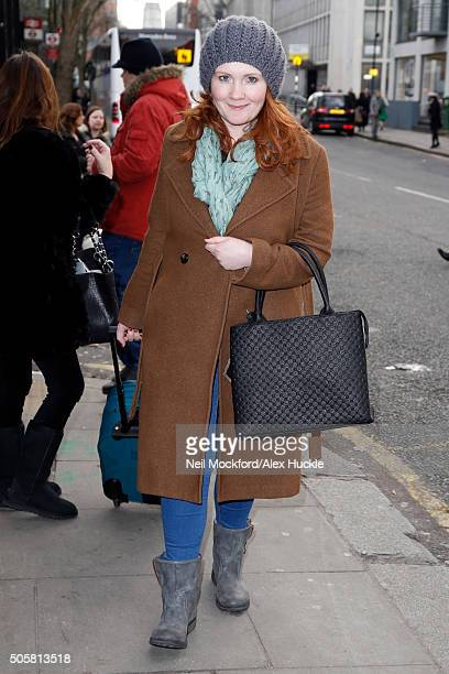 Jennie McAlpine seen arriving at Euston Station ahead of the National Television Awards on January 20 2016 in London England