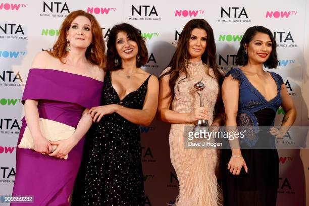 Jennie McAlpine Shappi Khorsandi Rebekah Vardy and Vanessa White from I'm A Celebrity Get Me Out Of Here with the award for Challenge Show attend the...
