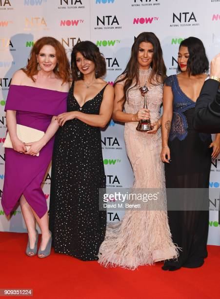 Jennie McAlpine Shappi Khorsandi Rebekah Vardy and Vanessa White accepting the Challenge Show award for 'I'm A CelebrityGet Me Out Of Here' pose in...