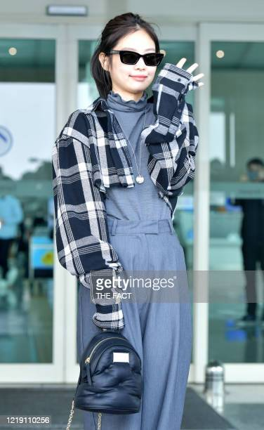 Jennie of BLACKPINK is seen at Incheon International Airport on February 13, 2020 in Incheon, South Korea.