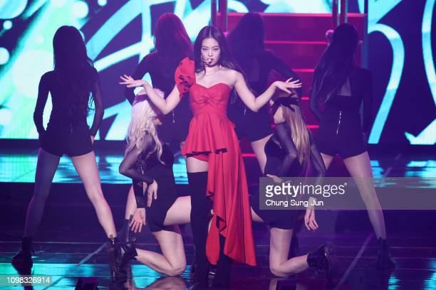 Jennie of Girl group BlackPink performs on stage during the 8th Gaon Chart KPop Awards on January 23 2019 in Seoul South Korea