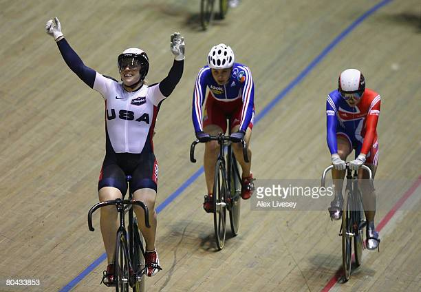Jennie Reed of USA celebrates victory in the Women's Keirin Final during the UCI Track Cycling World Championships at the Manchester Velodrome on...