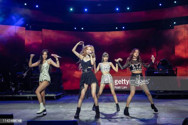 Jennie Rose Lisa and Jisoo of BLACKPINK perform onstage during Weekend 1 Day 1 of the 2019 Coachella Valley Music and Arts Festival on April 12 2019...