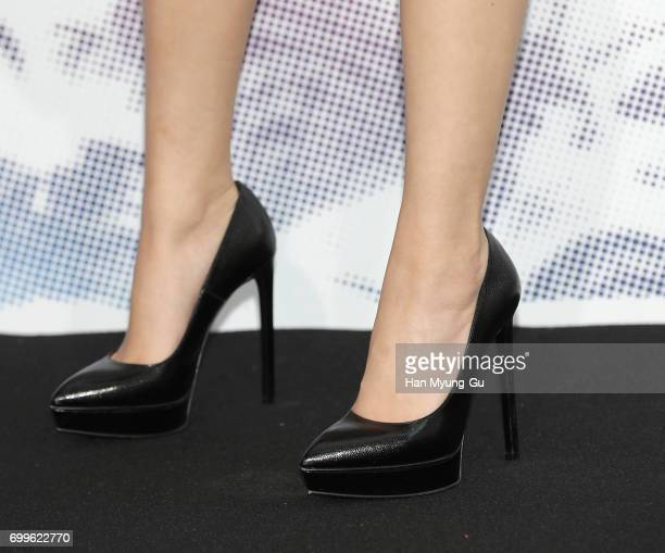 Jennie shoe detail of girl group BLACKPINK attends the 'Mademoiselle Prive' exhibition at the DMuseum on June 21 2017 in Seoul South Korea