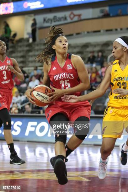 Jennie Simms of the Washington Mystics handles the ball against the Indiana Fever on May 2 2017 at Indiana Farmers Coliseum in Indianapolis Indiana...