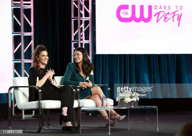 Jennie Snyder Urman and Gina Rodriguez of the television show 'Jane the Virgin' speak during the CW segment of the 2019 Winter Television Critics...