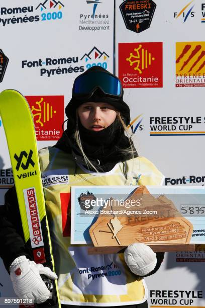 Jennielee Burmansson takes 2nd place during the FIS Freestyle Ski World Cup Freestyle Slopestyle on December 23 2017 in Font Romeu France