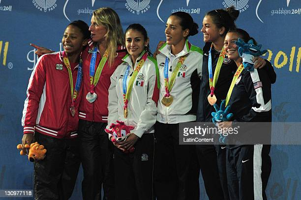 Jennifer Abel and Emilie Heymans of Canada winner of the silver medal Paola Espinosa and Laura Sanchez of Mexico winner of the gold medal and Kassidy...