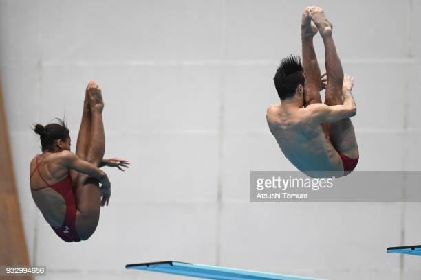 Jennifer Abel and Francois ImbeauDulac of Canada compete in the Mixed 3m Synchro Springboard final during day three of the FINA Diving World Series...