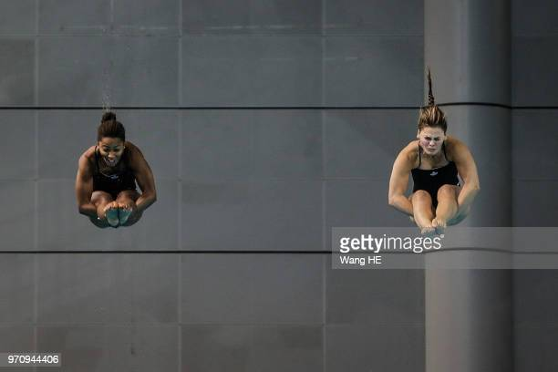 Jennifer Abel and Melissa Citrini Benulieu of Canada compete in the women's 3m Synchro Springboard final on FINA Diving World Cup 2018 at the Wuhan...