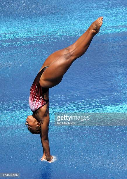 Jennifer Abel of Canada competes in the Semi Final of The Women's 3m Springboard at The Piscina Municipal De Montjuic on day seven of the 15th FINA...
