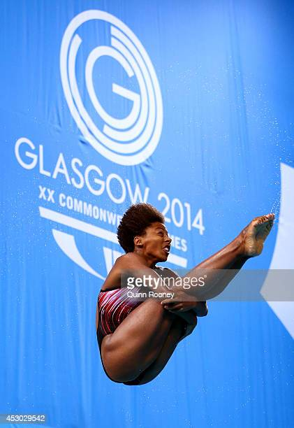 Jennifer Abel of Canada competes in the Women's 1m Springboard Final at Royal Commonwealth Pool during day nine of the Glasgow 2014 Commonwealth...