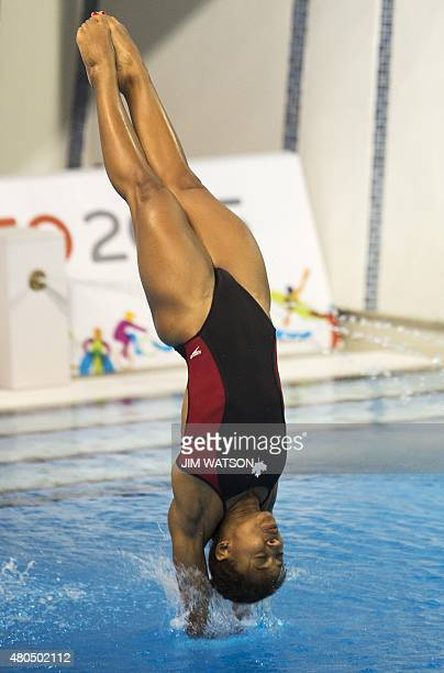 Jennifer Abel of Canada competes in the Women's 3M Springboard semifinals at the 2015 Pan American Games in Toronto Canada July 12 2015 AFP PHOTO/...