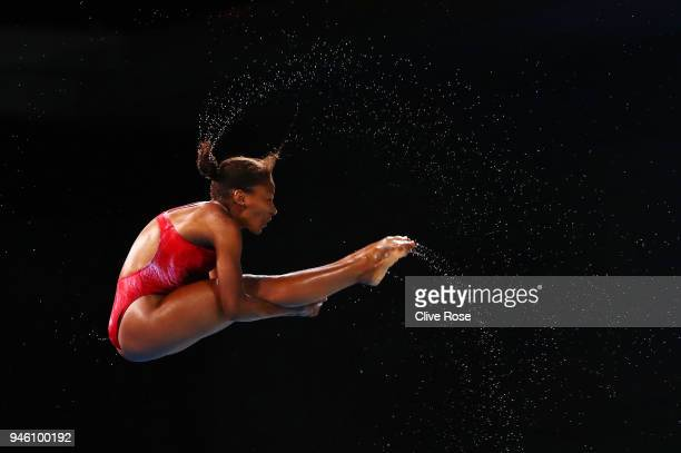 Jennifer Abel of Canada competes in the Women's 3m Springboard Diving Final on day 10 of the Gold Coast 2018 Commonwealth Games at Optus Aquatic...