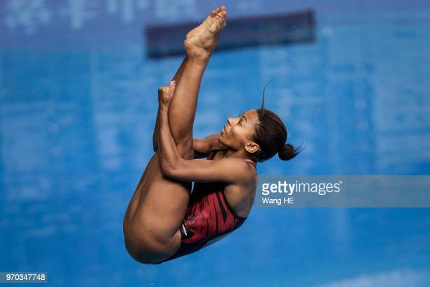 Jennifer Abel of Canada competes in the Women's 3m Springboard final during the FINA Diving World Cup 2018 at the Wuhan Sports Center on June 9 2018...