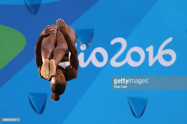 Jennifer Abel of Canada competes in the Women's 3M Springboard semi final on Day 8 of the Rio 2016 Olympic Games at the Maria Lenk Aquatics Centre on...