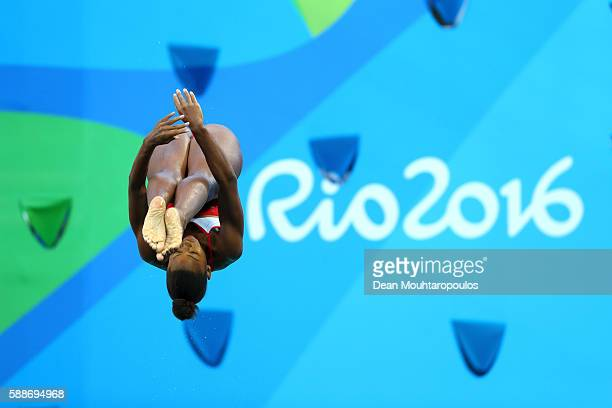 Jennifer Abel of Canada competes in the Women's Diving 3m Springboard Preliminary Round on Day 7 of the Rio 2016 Olympic Games at Maria Lenk Aquatics...
