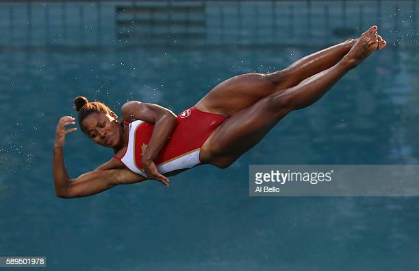Jennifer Abel of Canada competes in the Women's Diving 3m Springboard Final on Day 9 of the Rio 2016 Olympic Games at Maria Lenk Aquatics Centre on...
