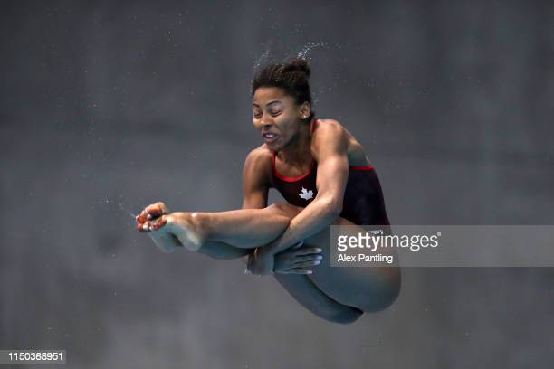 Jennifer Abel of Canada in her Women's 3m Springboard final during day three of the FINA/CNSG Diving World Series at Aquatics Centre on May 19 2019...