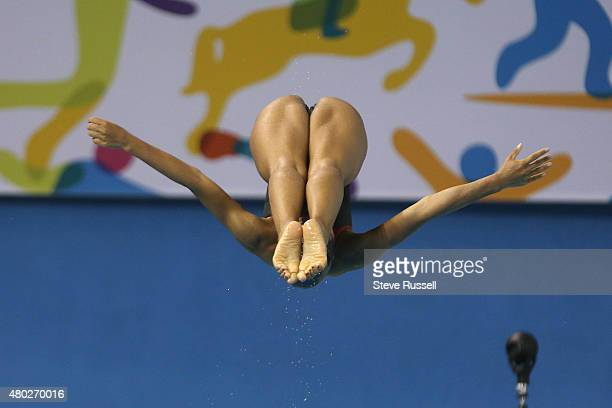 TORONTO ON JULY 10 Jennifer Abel of Canada practices for the women's 3 metre springboard diving preliminaries at the Pan Am Games at CIBC Aquatic...