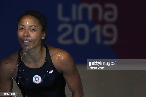 Jennifer Abel of Canada reacts after winning in the Women's Diving 3m Springboard Final on Day 10 of Lima 2019 Pan American Games on August 05 2019...