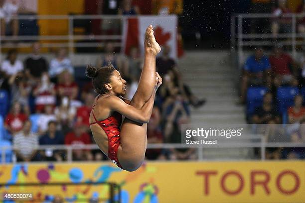 TORONTO ON JULY 12 Jennifer Abel somersaults in the pike position she would win the gold medal in the women's 3 metre springboard diving finals at...