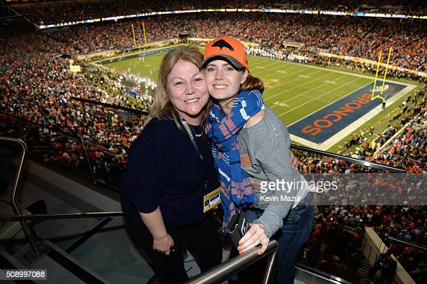 Jennifer Aiello and actress Amy Adams attend Super Bowl 50 at Levi's Stadium on February 7 2016 in Santa Clara California