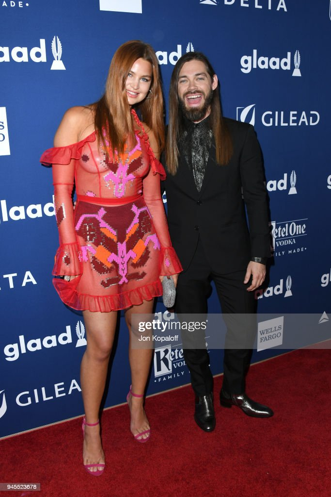 Jennifer Akerman (L) and Tom Payne attend the 29th Annual GLAAD Media Awards at The Beverly Hilton Hotel on April 12, 2018 in Beverly Hills, California.