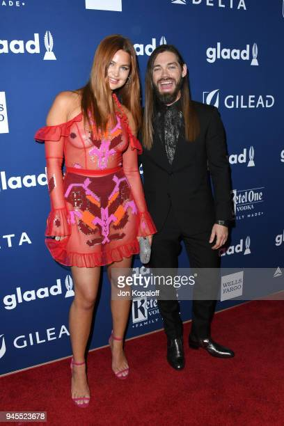 Jennifer Akerman and Tom Payne attend the 29th Annual GLAAD Media Awards at The Beverly Hilton Hotel on April 12 2018 in Beverly Hills California