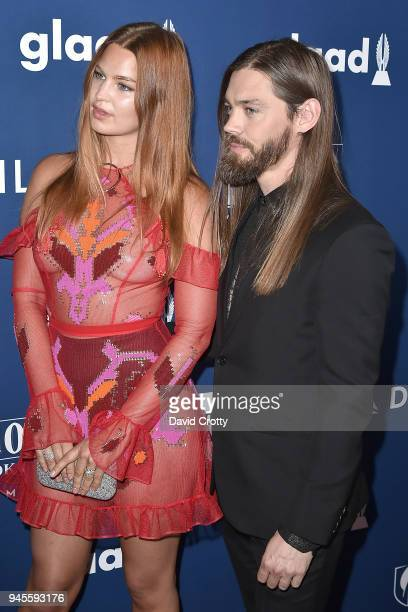 Jennifer Akerman and Tom Payne attend the 29th Annual GLAAD Media Awards Arrivals at The Beverly Hilton Hotel on April 12 2018 in Beverly Hills...