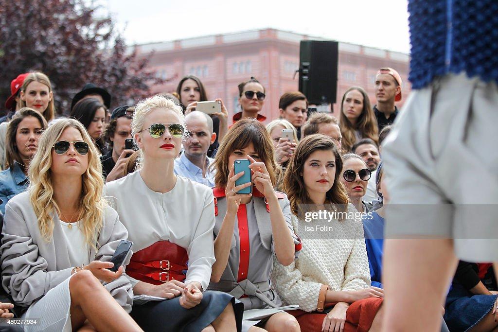 Jennifer Akerman, Franziska Knuppe, Eva Padberg and Marie Nasemann attend the Marina Hoermanseder Show during Der Berliner Modesalon on July 10, 2015 in Berlin, Germany.