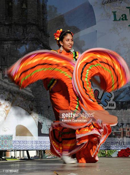 Jennifer Albino member of Mexica Ballet Folclorico performs during Cinco De Mayo festivities on May 5 2011 at El Pueblo de Los Angeles Historic Site...