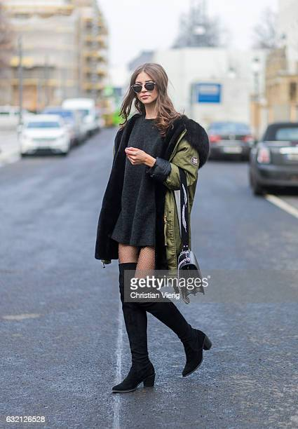 Jennifer Amanda wearing a grey mohair sweater from Zara a custom design parka from WELOVEPARKA overknee boots by Gardenia Copenhagen paired with...
