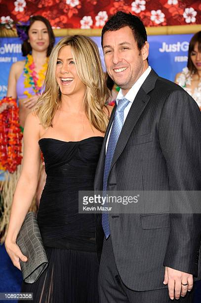 Jennifer Aniston and Adam Sandler attends the premiere of Just Go With It at the Ziegfeld Theatre on February 8 2011 in New York City