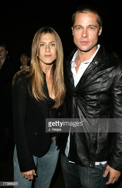 "Jennifer Aniston and Brad Pitt attend the Palisades Pictures screening of ""Going Upriver: The Long War of John Kerry"" to kick off its college tour..."