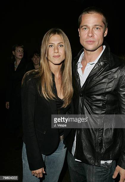Jennifer Aniston and Brad Pitt attend the Palisades Pictures screening of Going Upriver The Long War of John Kerry to kick off its college tour and...