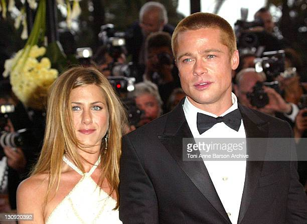Jennifer Aniston and Brad Pitt during 2004 Cannes Film Festival Troy Premiere at Palais Du Festival in Cannes France