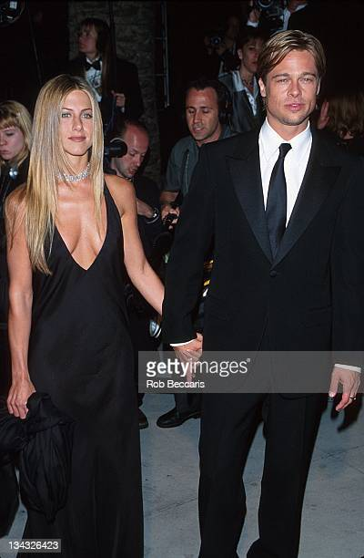 Jennifer Aniston and Brad Pitt during 7th Annual Vanity Fair Oscar Party Arrivals at Morton's Restaurant in Beverly Hills California United States