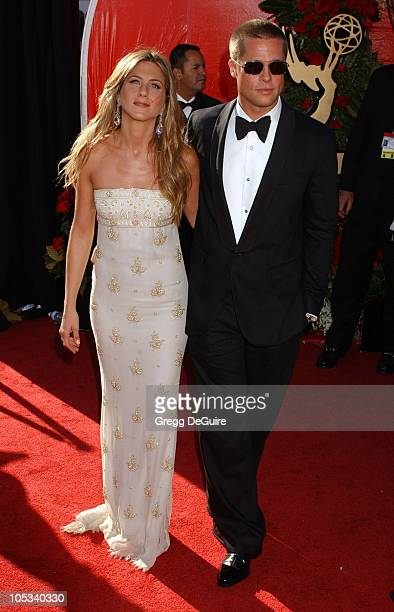Jennifer Aniston and Brad Pitt during The 56th Annual Primetime Emmy Awards - Arrivals at The Shrine Auditorium in Los Angeles, California, United...