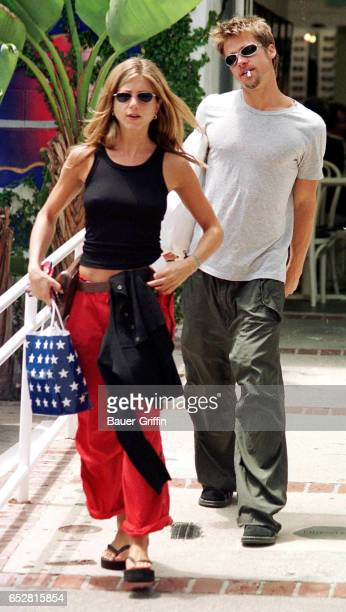 Jennifer Aniston and Brad Pitt shopping in Los Angeles CA November 23 1999