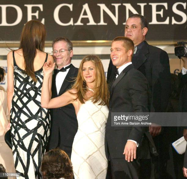 Jennifer Aniston and Brad Pitt with guests during 2004 Cannes Film Festival 'Troy' Premiere at Palais Du Festival in Cannes France
