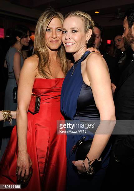 Jennifer Aniston and Chelsea Handler attend the 2013 Vanity Fair Oscar Party hosted by Graydon Carter at Sunset Tower on February 24 2013 in West...