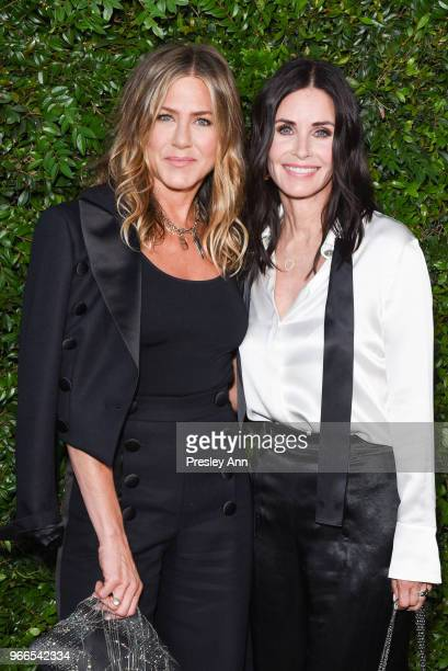 Jennifer Aniston and Courtney Cox attend CHANEL Dinner Celebrating Our Majestic Oceans A Benefit For NRDC on June 2 2018 in Malibu California