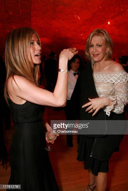 Jennifer Aniston and Diane Sawyer during 2006 Vanity Fair Oscar Party Hosted by Graydon Carter at Morton's in Beverly Hills California United States