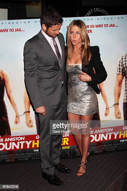 Jennifer Aniston and Gerard Butler attend the UK premiere of The Bounty Hunter held at The Vue West End on March 11 2010 in London England